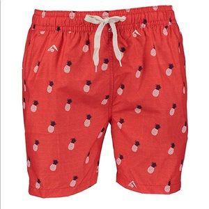 Men's Red Pineapple KANU Swim Trunks Size Small